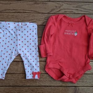 Gymboree Strawberry Mommy's Sweetie Top and Pants